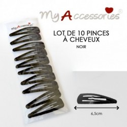 My accessories - Lot de 10 pinces à cheveux noir - 6,5cm